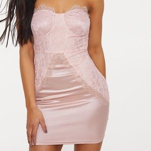 PrettyLittleThing Rose/Pink Lace Bodycon Dress